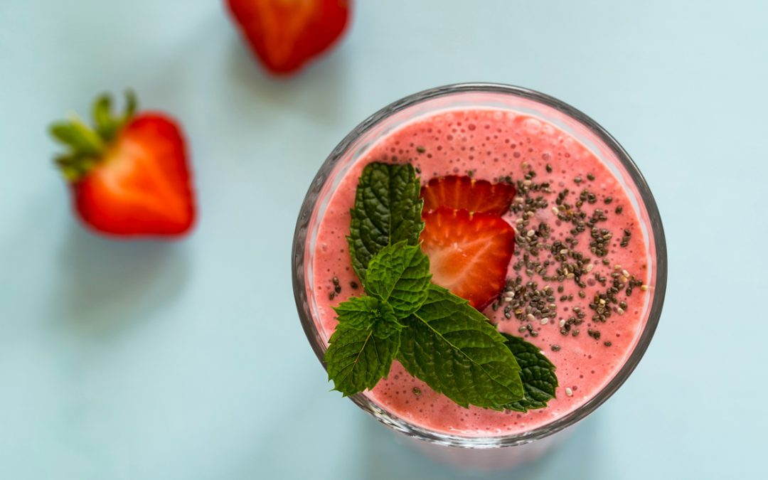 Creamy strawberry summer time smoothie